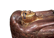 Acient Egyptian sacophagus of Kha -  inner coffin from  tomb of Kha, Theban Tomb 8 , mid-18th dynasty (1550 to 1292 BC), Turin Egyptian Museum. white background .<br /> <br /> If you prefer to buy from our ALAMY PHOTO LIBRARY  Collection visit : https://www.alamy.com/portfolio/paul-williams-funkystock/ancient-egyptian-art-artefacts.html  . Type -   Turin   - into the LOWER SEARCH WITHIN GALLERY box. Refine search by adding background colour, subject etc<br /> <br /> Visit our ANCIENT WORLD PHOTO COLLECTIONS for more photos to download or buy as wall art prints https://funkystock.photoshelter.com/gallery-collection/Ancient-World-Art-Antiquities-Historic-Sites-Pictures-Images-of/C00006u26yqSkDOM