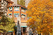 The Ahwahnee Hotel and fall color, Yosemite Valley, Yosemite National Park, California