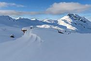 Snow bank and the Piz Curver, Savognin, Parc Ela, Grisons, Switzerland