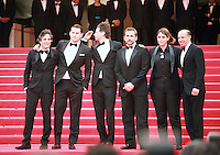 Mark Ruffalo, Channing Tatum, director Bennett Miller, Steve Carell, Megan Ellison, Jon Kilik at the Foxcatcher gala screening red carpet at the 67th Cannes Film Festival France. Monday 19th May 2014 in Cannes Film Festival, France.