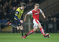 Fleetwood Town's Kyle Dempsey outpaces Oxford United's John Lundstram<br /> <br /> Photographer Mick Walker/CameraSport<br /> <br /> The EFL Sky Bet League One - Oxford United v Fleetwood Town - Wednesday 5th April 2017 - Kassam Stadium - Oxford<br /> <br /> World Copyright © 2017 CameraSport. All rights reserved. 43 Linden Ave. Countesthorpe. Leicester. England. LE8 5PG - Tel: +44 (0) 116 277 4147 - admin@camerasport.com - www.camerasport.com