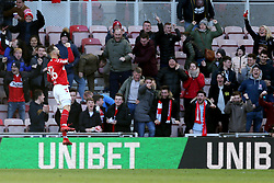 Middlesbrough's Lewis Wing celebrates scoring his side's first goal of the game during the Sky Bet Championship match at The Riverside Stadium, Middlesbrough.