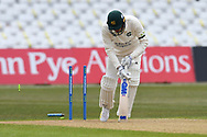 Jake Ball of Nottinghamshire minus middle stump during the LV= Insurance County Championship match between Nottinghamshire County Cricket Club and Durham County Cricket Club at Trent Bridge, Nottingham, United Kingdom on 10 April 2021.