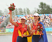 Shunyi, CHINA. ROM W2-, Gold medalist, Bow,Georgeta ANDRUNACHE and Viorica SUSANU , at the 2008 Olympic Regatta, Shunyi Rowing Course.  Sat,.16.08.2008.  [Mandatory Credit: Peter SPURRIER, Intersport Images