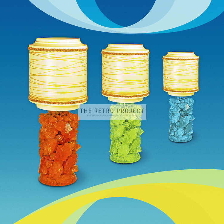 Rock Lamp retro atomic space age lighting with braid shades in catalogue style with vintage look swirls background
