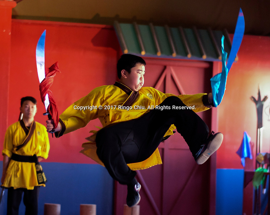 Student of Shaolin Kung Fu Classes perform in Shaolin Temple Cultural Center on April 17, 2017 in Los Angeles.(Photo by Ringo Chiu/PHOTOFORMULA.com)<br /> <br /> Usage Notes: This content is intended for editorial use only. For other uses, additional clearances may be required.