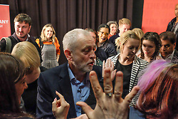 April 29, 2017 - London, United Kingdom - Labour Leader Jeremy Corbyn (C) with supporters after delivering a campaign speech on leadership on April 29, 2017 in London, England. Britain is to go to the polls on June 8, after British Prime Minister Theresa May called for a snap general election. (Credit Image: © Jay Shaw Baker/NurPhoto via ZUMA Press)