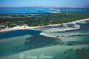 aerial view of Key Biscayne with Biscayne Bay, Virginia Key and Miami in the background, Miami, Florida, USA