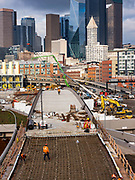 The approach to the tunnel under construction, Seattle, Washington, USA  02-13-19