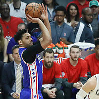 11 March 2017: Philadelphia 76ers center Jahlil Okafor (8) takes a jump shot during the LA Clippers 112-100 victory over the Philadelphia Sixers, at the Staples Center, Los Angeles, California, USA.