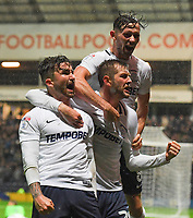 Preston North End's Sean Maguire is congratulated on scoring his sides 2nd goal<br /> <br /> Photographer Dave Howarth/CameraSport<br /> <br /> The EFL Sky Bet Championship - Preston North End v Cardiff City - Tuesday 12th September 2017 - Deepdale Stadium - Preston<br /> <br /> World Copyright © 2017 CameraSport. All rights reserved. 43 Linden Ave. Countesthorpe. Leicester. England. LE8 5PG - Tel: +44 (0) 116 277 4147 - admin@camerasport.com - www.camerasport.com
