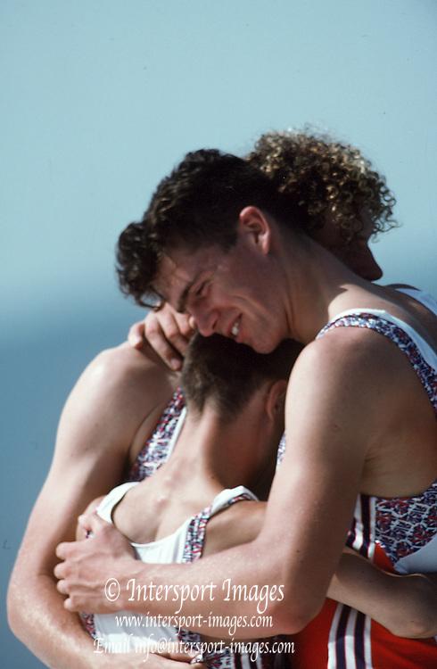 Barcelona,  SPAIN, GBR M2+ Greg and Jonny Searle: cox Garry Herbert at the 1992 Olympic Regatta. Lake Banyoles, Nr Barcelona SPAIN,  [Photo, Peter Spurrier/Intersport-images]..       {Mandatory Credit: © Peter Spurrier/Intersport Images]