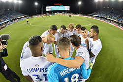 September 19, 2018 - San Jose, California, United States - San Jose, CA - Wednesday September 19, 2018: San Jose Earthquakes huddle prior to a Major League Soccer (MLS) match between the San Jose Earthquakes and Atlanta United FC at Avaya Stadium. (Credit Image: © John Todd/ISIPhotos via ZUMA Wire)