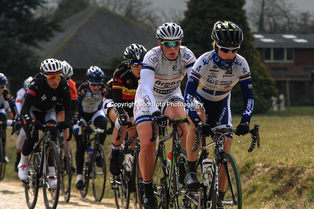 Sportfoto archief 2013<br /> Ronde van Vlaanderen Worlccup women Emma Johansson, Kirsten Wild on the cobbles of de Haaghoek