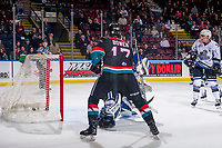 KELOWNA, CANADA - OCTOBER 5:  Ryan Bowen #17 of the Kelowna Rockets watches the puck go in the net of Griffen Outhouse #30 of the Victoria Royals on October 5, 2018 at Prospera Place in Kelowna, British Columbia, Canada.  (Photo by Marissa Baecker/Shoot the Breeze)  *** Local Caption ***