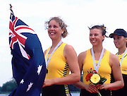 """Trakai, LITHUANIA. 2002 Junior World Rowing Championships, on Lake Galva Saturday  10/08/2002 [Mandatory Credit: Peter Spurrier/ Intersport Images].""""A"""" Finals  AUS JW2- bow Mallory Baxter and Alexandra Jane Doyle. - Bronze medal winners 200208 Junior World Rowing Championships, Trakai, LITHUANIA"""