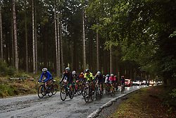 The chase group approach at the 2020 Liège Bastogne Liège, a 135 km road race from Bastogne to Liège, Belgium on October 4, 2020. Photo by Sean Robinson/velofocus.com