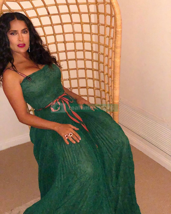 """Salma Hayek releases a photo on Instagram with the following caption: """"Off to the Palm Springs Film Festival @psfilmfest Gala to present the #Vanguard award to my friend Guillermo Del Toro and the wonderful cast, producer \u0026 composer of #TheShapeOfWater"""". Photo Credit: Instagram *** No USA Distribution *** For Editorial Use Only *** Not to be Published in Books or Photo Books ***  Please note: Fees charged by the agency are for the agency's services only, and do not, nor are they intended to, convey to the user any ownership of Copyright or License in the material. The agency does not claim any ownership including but not limited to Copyright or License in the attached material. By publishing this material you expressly agree to indemnify and to hold the agency and its directors, shareholders and employees harmless from any loss, claims, damages, demands, expenses (including legal fees), or any causes of action or allegation against the agency arising out of or connected in any way with publication of the material."""