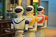 ZHANGJIAJIE, CHINA - NOVEMBER 11: (CHINA OUT) <br /> <br /> Robot Restaurant <br /> <br /> Three robots deliver meals for customers at a restaurant on November 11, 2015 in Zhangjiajie, Hunan Province of China. Its said that three robots worked in the restaurant are made with magnetic induction and the staffs send instructions through an iPad.<br /> ©Exclusivepix Media