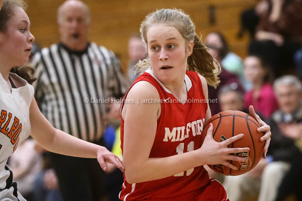 (2/28/17, MARLBOROUGH, MA) Milford's Kate Irwin drives to the basket during the first round of the Div. 2 Central tournament against Marlborough at Marlborough High School on Tuesday. [Daily News and Wicked Local Photo/Dan Holmes]