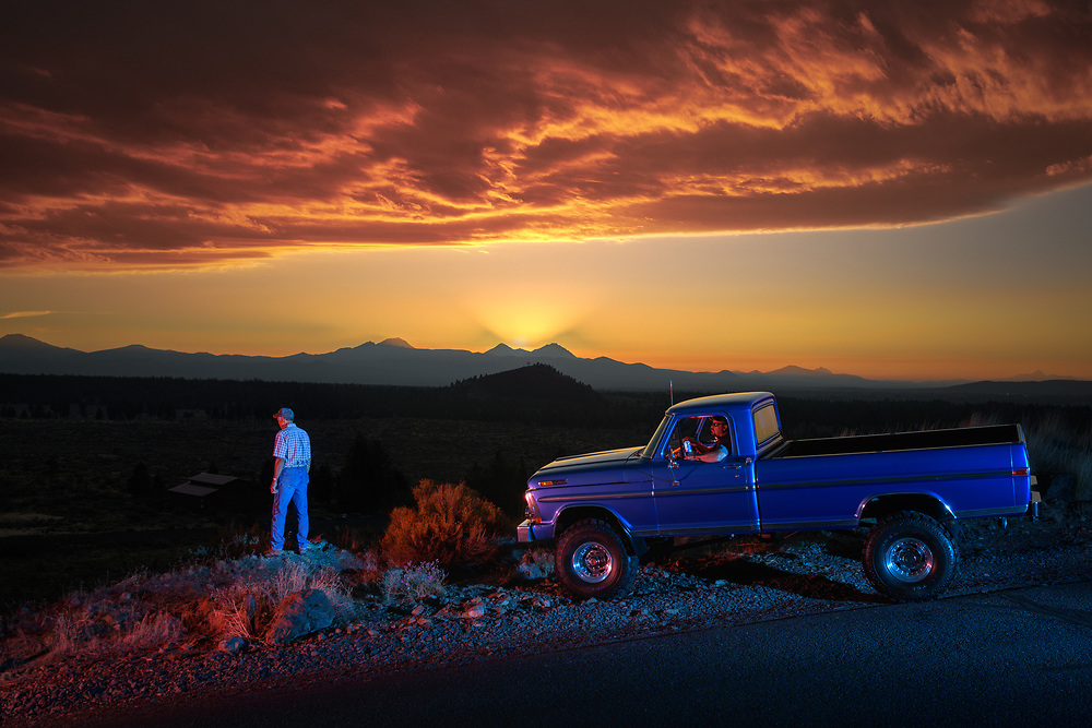 North America, American, Pacific Northwest, USA, Oregon, American Dreamscapes ,  Where the desert meets the mountains, 1971 Ford 4x4 Hi-boy