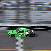 Danica Patrick, driver of the (7) GoDaddy Chevrolet crosses the finish line during practice for the 60th Annual NASCAR Daytona 500 auto race at Daytona International Speedway on Friday, February 16, 2018 in Daytona Beach, Florida.  (Alex Menendez via AP)