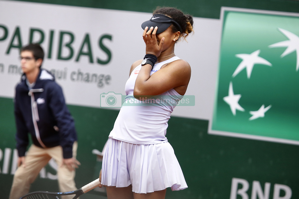 May 30, 2019 - Paris, France - Japan's Naomi Osaka celebrates after winning against Belarus' Victoria Azarenka during their women's singles second round match on day five of The Roland Garros 2019 French Open tennis tournament in Paris on May 30, 2019. (Credit Image: © Ibrahim Ezzat/NurPhoto via ZUMA Press)