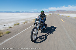 Bill Buckingham riding his 1923 Harley-Davidson J model custom chopper (that won top honors at Born Free 6) out to the Bonneville Salt Flats during stage 12 (299 m) of the Motorcycle Cannonball Cross-Country Endurance Run, which on this day ran from Springville, UT to Elko, NV, USA. Wednesday, September 17, 2014.  Photography ©2014 Michael Lichter.