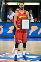 Spain's Juan Carlos Navarro during receive the congratulations for the player with more games with the national team friendly match for the preparation for Eurobasket 2017 between Spain and Venezuela at Madrid Arena in Madrid, Spain August 15, 2017. (ALTERPHOTOS/Borja B.Hojas)