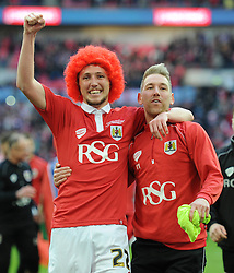 Bristol City's Luke Ayling celebrates with Bristol City's Scott Wagstaff after winning the Johnstone Paint Trophy - Photo mandatory by-line: Dougie Allward/JMP - Mobile: 07966 386802 - 22/03/2015 - SPORT - Football - London - Wembley Stadium - Bristol City v Walsall - Johnstone Paint Trophy Final