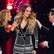 NLD/Hilversum/20180216 - Finale The voice of Holland 2018, Wendy van Dijk, Demi van Wijngaarden en Martijn Krabbe