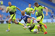 Cardiff City's Frederic Gounongbe © is fouled in the box by Reading's Paul McShane (on floor) but no penalty is given. EFL Skybet championship match, Cardiff city v Reading at the Cardiff city stadium in Cardiff, South Wales on Saturday 27th August 2016.<br /> pic by Carl Robertson, Andrew Orchard sports photography.