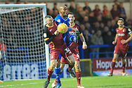 Calvin Andrew challenges Paul Caddis  during the EFL Sky Bet League 1 match between Rochdale and Bradford City at Spotland, Rochdale, England on 29 December 2018.