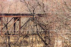 Old vintage rusty relic railroad trestle