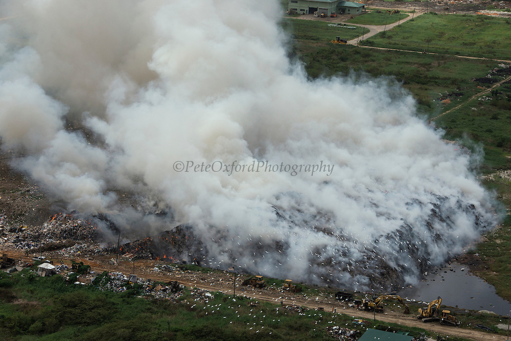 Municipal dump on fire<br /> Georgetown<br /> GUYANA<br /> South America