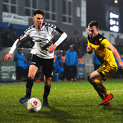 TELFORD COPYRIGHT MIKE SHERIDAN 19/1/2019 - Ryan Barnett of AFC Telford (on loan from Shrewsbury Town Football Club) takes on Sam Austin during the Vanarama Conference North fixture between AFC Telford United and Kidderminster Harriers