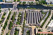 Nederland, Noord-Holland, Amsterdam, 29-06-2018; Amsterdam-Zuid Rivierenbuurt met Amstel en zicht op de Berlagebrug. Remise Lekstraat van het GVB.<br /> South-Amsterdam, well to do neigborhood Rivierenbuurt.<br /> <br /> luchtfoto (toeslag op standard tarieven);<br /> aerial photo (additional fee required);<br /> copyright foto/photo Siebe Swart