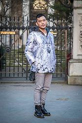 Fashionista wearing John Herrera during London Fashion Week Autumn/Winter 2017 in London.  Picture date: Friday 17th February 2017. Photo credit should read: DavidJensen/EMPICS Entertainment