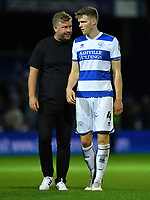Football - 2021 / 2022 EFL Carabao Cup - Round Two - Queens Park Rangers vs Oxford United - Kyan Prince Foundation Stadium - Tuesday 24th August 2021.<br /> <br /> Oxford United head coach Karl Robinson with former player Rob Dickie of Queens Park Rangers at the final whistle.<br /> <br /> COLORSPORT/Ashley Western