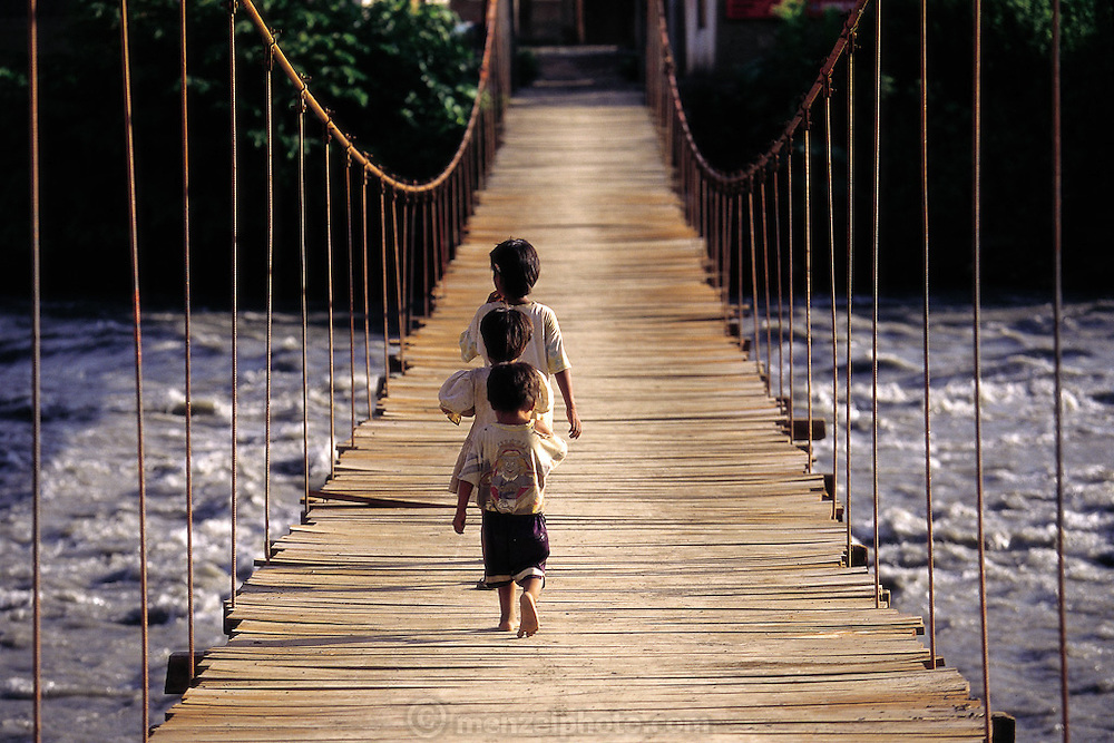 Foot bridge over the Alta Yanatile River in the town of Santiago, off Rt. 103, Peru. (Man Eating Bugs page 164,165)