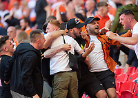 Blackpool fans celebrate Kenny Dougall's equaliser<br /> <br /> Photographer Chris Vaughan/CameraSport<br /> <br /> The EFL Sky Bet League One Play-Off Final - Blackpool v Lincoln City - Sunday 30th May 2021 - Wembley Stadium - London<br /> <br /> World Copyright © 2021 CameraSport. All rights reserved. 43 Linden Ave. Countesthorpe. Leicester. England. LE8 5PG - Tel: +44 (0) 116 277 4147 - admin@camerasport.com - www.camerasport.com