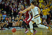 March 18, 2016; Tempe, Ariz;  New Mexico State Aggies guard Sasha Weber (4) dribbles past Arizona State Sun Devils guard Sabrina Haines (3) during a game between No. 2 Arizona State Sun Devils and No. 15 New Mexico State Aggies in the first round of the 2016 NCAA Division I Women's Basketball Championship in Tempe, Ariz. The Sun Devils defeated the Aggies 74-52.