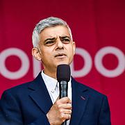 Speaker Mayor of London, Sadiq Khan at the Eid festival in Trafalgar Square London to mark the end of Ramadan on 8 June 2019, London, UK.
