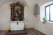 Small chapel at Säben Abbey, Klausen, South Tyrol, Italy. Säben Abbey is a Benedictine nunnery established in 1687, when it was first settled by the nuns of Nonnberg Abbey in Salzburg.