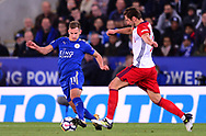 Marc Albrighton of Leicester city battles with Grzegorz Krychowiak of West Bromwich Albion .Premier league match, Leicester City v West Bromwich Albion at the King Power Stadium in Leicester, Leicestershire on Monday 16th October 2017.<br /> pic by Bradley Collyer, Andrew Orchard sports photography.