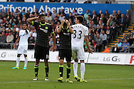Diego Costa and Oscar of Chelsea react and show their frustration after missing a chance to score. Premier league match, Swansea city v Chelsea at the Liberty Stadium in Swansea, South Wales on Sunday 11th Sept 2016.<br /> pic by  Andrew Orchard, Andrew Orchard sports photography.