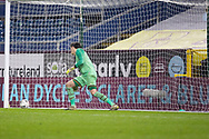 Milton Keynes Dons goalkeeper Lee Nicholls (1) watches the ball going passed him during penalties from Burnley defender Phillip Bardsley (26)during the FA Cup match between Burnley and Milton Keynes Dons at Turf Moor, Burnley, England on 9 January 2021.