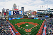 CLEVELAND, OH - APRIL 11: General view of the ballpark from the upper concourse during a game between the Detroit Tigers and Cleveland Indians at Progressive Field on April 11, 2021 in Cleveland, Ohio. The Indians defeated the Tigers 5-2.  (Joe Robbins/Image of Sport)