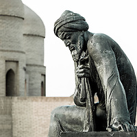 Khiva, Uzbekistan 26 March 2012<br /> Statue of Al-Khwarizmi.<br /> Abu Abdallah Muhammad ibn Musa al-Khwarizmi, earlier transliterated as Algoritmi or Algaurizin, was a mathematician, astronomer and geographer born in Khiva in 780.<br /> In the twelfth century, Latin translations of his work on the Indian numerals introduced the decimal positional number system to the Western world.<br /> His Compendious Book on Calculation by Completion and Balancing presented the first systematic solution of linear and quadratic equations in Arabic. In Renaissance Europe, he was considered the original inventor of algebra, although we now know that his work is based on older Indian or Greek sources.<br /> He revised Ptolemy's Geography and wrote on astronomy and astrology.<br /> PHOTO: EZEQUIEL SCAGNETTI