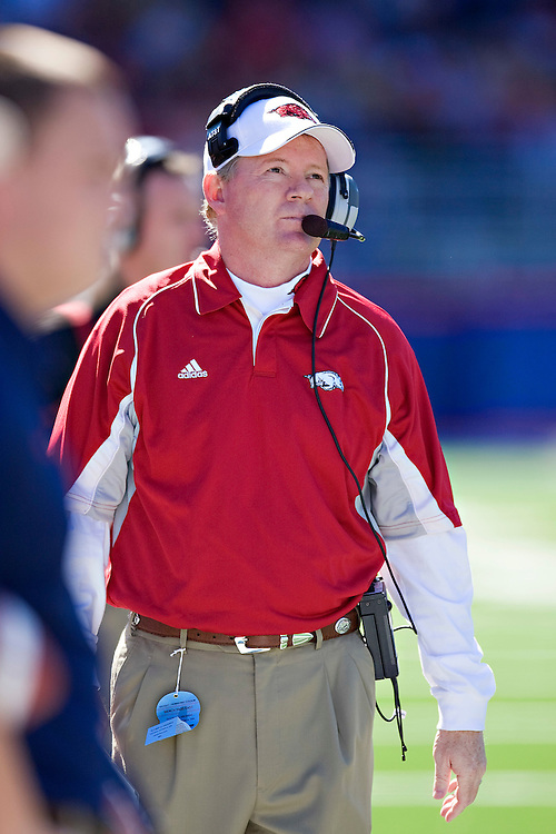 OXFORD, MS - OCTOBER 24:   Head Coach Bobby Petrino of the Arkansas Razorbacks watches a replay during a game against the Ole Miss Rebels at Vaught-Hemingway Stadium on October 24, 2009 in Oxford, Mississippi.  The Rebels defeated the Razorbacks 30 to 17.  (Photo by Wesley Hitt/Getty Images) *** Local Caption *** Bobby Petrino